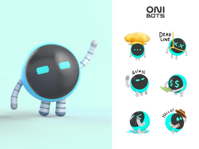 OniBots | Corporate mascots ONIX mascot character mascot characher character design 3d art animation sticker stickers illustration design illustrator branding