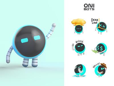 OniBots   Corporate mascots ONIX mascot character mascot characher character design 3d art animation sticker stickers illustration design illustrator branding