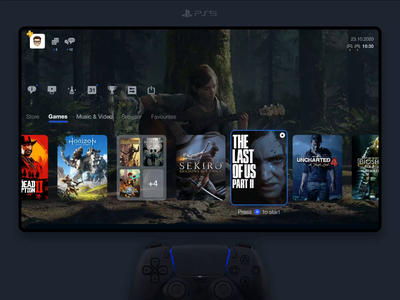 PS5 Dashboard netflix red dead redemption horizon zero dawn uncharted sekiro the last of us xbox gaming sony sketch aftereffects photoshop principle app controller userinterface dashboard concept playstation5 playstation ps5