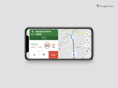 Google Maps Redesign travel car apple ios road navigation map google maps google redesign concept