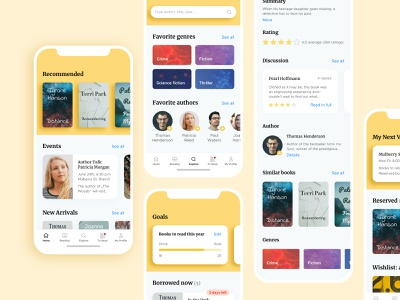 Library App mobile concept yellow library app reading books library app ux ui