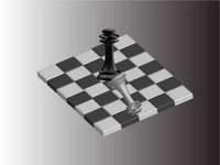 3D chess board with chess pieces