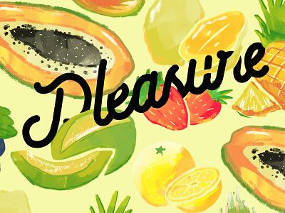 Pleasure fullcolor tropical fruity vegetarian fruits bold typography label label design illustration design concept branding