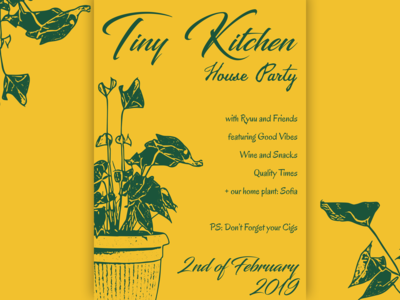Vintage Floral Poster for a Tiny Kitchen House Party