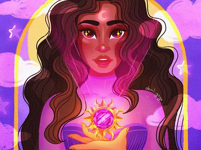 Amuleto moon magic amuleto amulet girl illustration photoshop