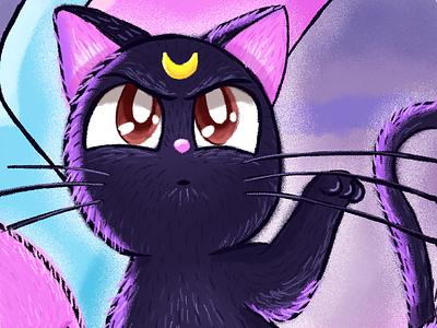 Luna - Sailor Moon miau black cat luna sailor moon cat brush photoshop illustration
