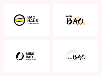 Bao restaurant logo variations bao logo design variations logo
