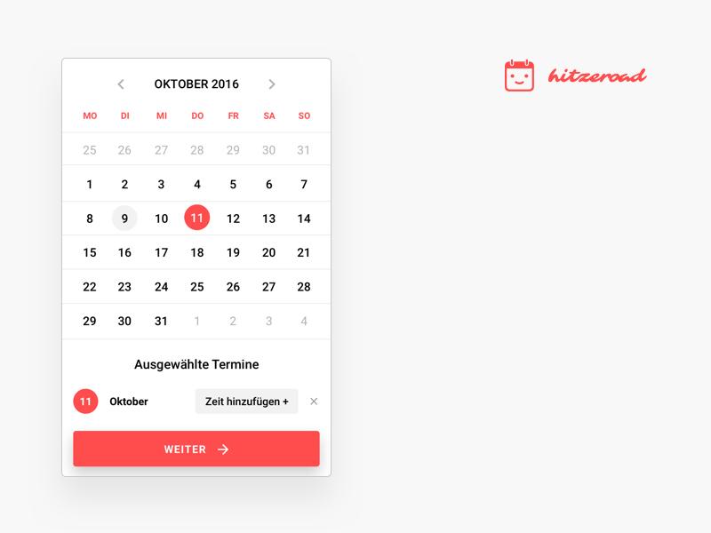 Hitzeroad web app  calendar events mobile web app