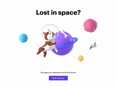 Lost in Space? web design space planets pitch otto dog 404 page 404 3d