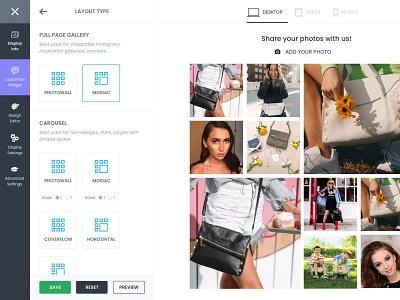 Customize Your Widget mosaic wysiwyg gui gallery widgets builder layout clean local business design web app ux ui