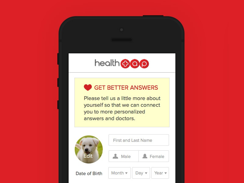 Personalization Screen ios app healthtap heath layout ui ux form personallize sketch