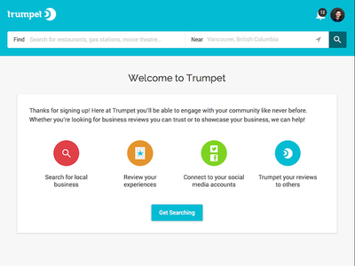 Welcome Screen yelp search business local ux ui app web onboarding welcome