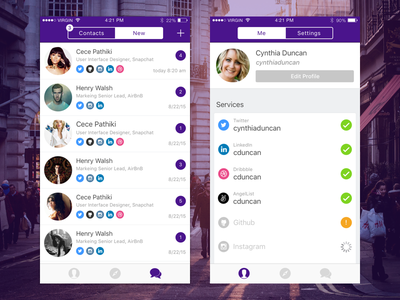 New Connections & Me Screen profile me connections social mobile ux ui chat ios app