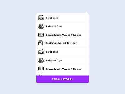 Departments Dropdown Menu ux ui shopping commerce departments categories store web dropdown menu