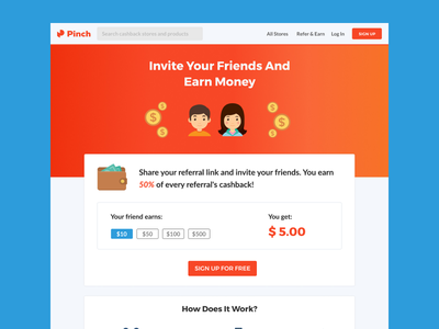 Refer And Earn for Pinch illustration clean ux ui app web cashback earn invite referrals refer