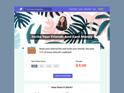 Refer And Earn - Influencers influencers web ux ui referrals refer invite illustration earn clean cashback app