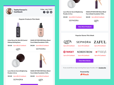 Weekly Email - Influencers campaign email web ux ui clean influencers earn cashback app