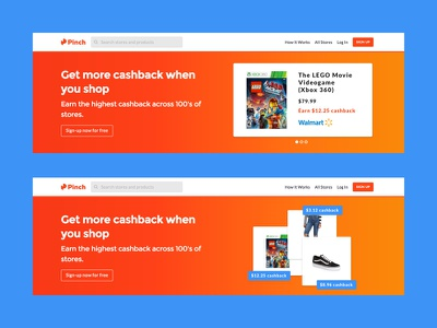 Pinch Web Banners price products banner web ux ui card earn clean cashback app