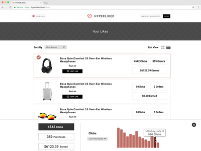 Analytics For Links web ux ui analytics stats marketing minimalistic influencers links clean app