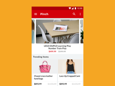 Pinch On Android web ux ui shopping products landing android earn clean cashback app