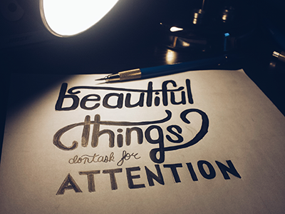 Beautiful Things Don't Ask for Attention lettering typography