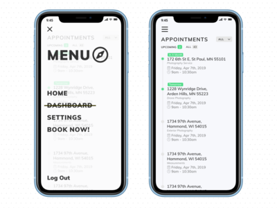 Appointments Dashboard and Mobile Menu