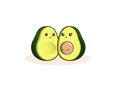 The Avocado Family cute vector illustration design family avocado