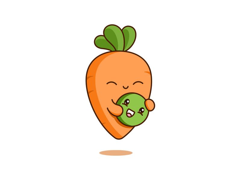 Pea and Carrot kawaii vegetables pea carrot cute design vector illustration
