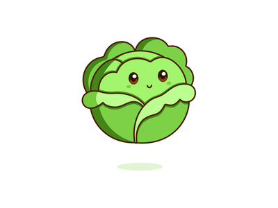 Cabbage kawaii graphic vector cute illustration design vegetable cabbage