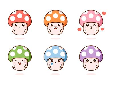 Mushrooms ! kawaii graphic vector cute illustration design facial expressions mushrooms