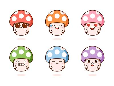 Mushrooms kawaii graphic vector cute illustration design facial expressions mushrooms