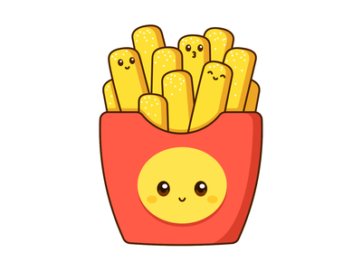 Fry Day! kawaii graphic vector cute design illustration fast food french fries