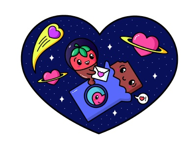 Happy Valentines chocolate sweet heart illustration space valentine