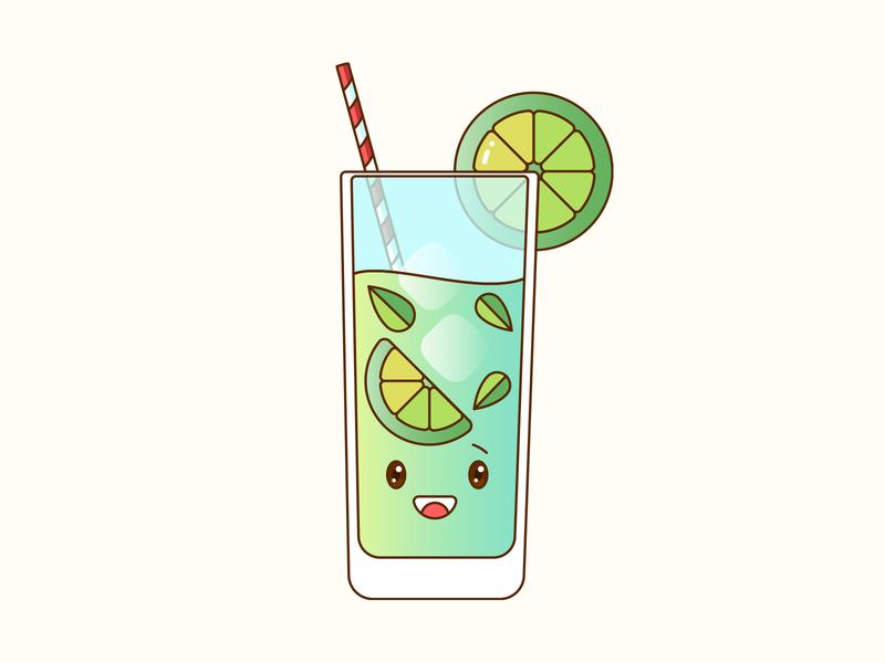 Mojito Monday cute vector illustration design drink cocktail mojito