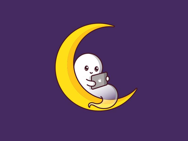 Enjoying a Quiet Halloween Night cute vector illustration design ghost halloween