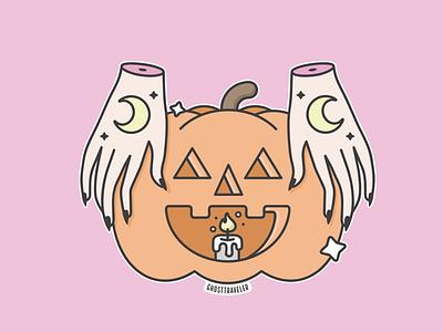 Magic Pumpkin ghosttraveler halloween kawaii pastel graphic design illustration vector pumpkin magical spooki witchy witch magic