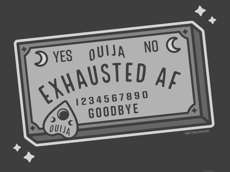 Exausted Ouijaboard witchcraft spooky line art ghosttraveler vector tarot spirit board ghosts halloween spirits magic witch witchy ouija board ouija illustration inktober