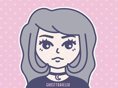 Self Portrait   2019 pastel graphic designer design avatar icon logo branding adobe illustrator line art graphic design ghosttraveler witchy vector illustration
