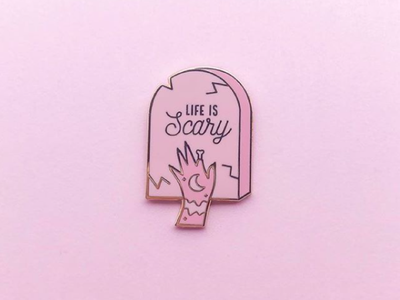 Life is Scary Enamel Pin zombie hard enamel pin enamel pins pin community enamel pin pastel graphic designer witchcraft design halloween witch spooky line art graphic design ghosttraveler witchy vector illustration