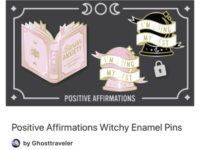 Positive Witchy Enamel Pin Kickstarter kickstarter pingang enamel pins depression anxiety crystal ball ghosttraveler witchcraft witch mental health illustration witchy