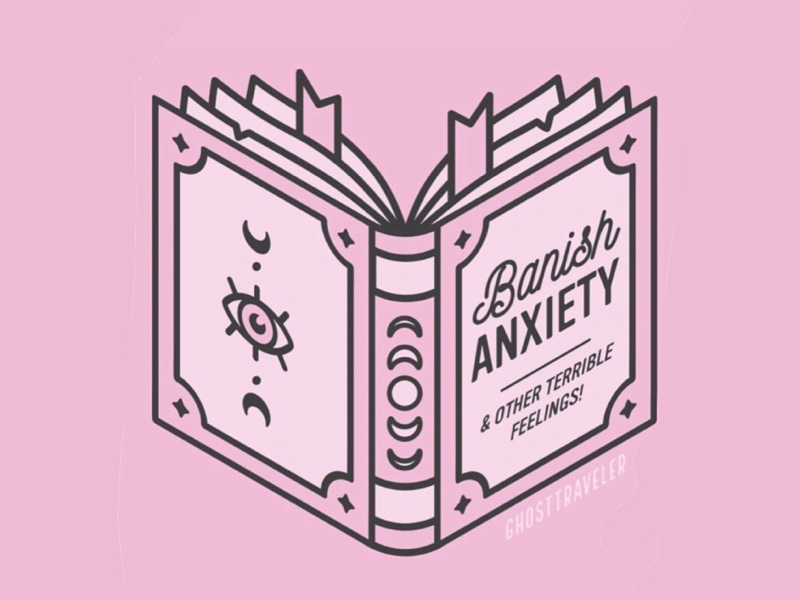 Banish Anxiety Spell Book isometric isometric design illustration magic ghosttraveler graphic design witchy depression anxiety mental health spell book spells