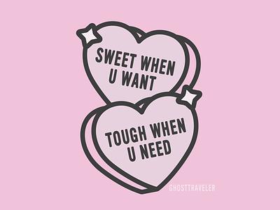 Sweet when u want tough when u need pink pastel strong feminist art heart kawaii ghosttraveler feminist vector candy feminism