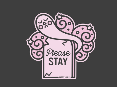 Please Stay pink halloween witch witchy art witchy spooky vector pastel ghosttraveler ghost