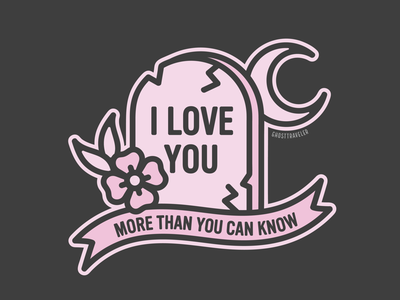 I Love You i love you witchy art witchy witch spooky pink pastel illustration vector tombstone grace r.i.p. ghosttraveler