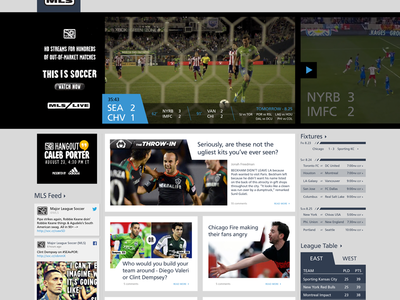 MLSSoccer.com Redesign (for Fun)  mls soccer flat