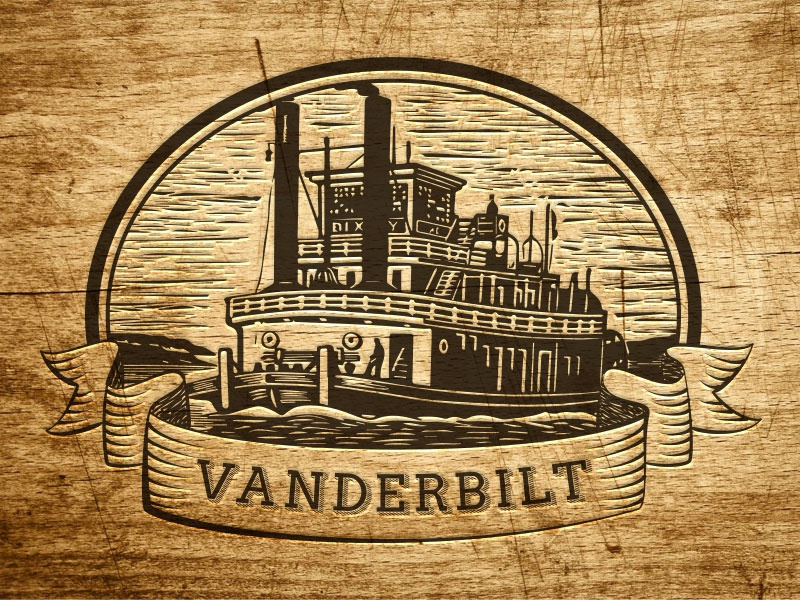 Vanderbilt Logo vanderbilt acquire retro steamboat woodcut logo
