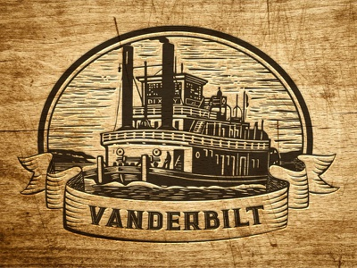 Vanderbilt Logo vanderbilt retro steamboat woodcut steam