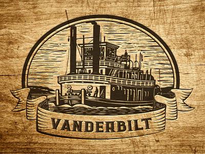 Vanderbilt Logo vanderbilt retro steamboat woodcut steam