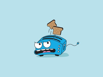 Bread Toaster angry graphic design design illustration vector kitchen mad teeth tounge blue toasted toasting eyes mouth plug face toast bread toaster