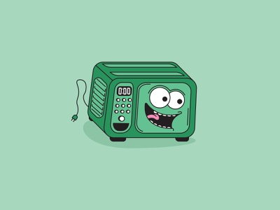 Food Microwave heat grapicdesign button design green timer button plug spaghetti teeth tounge mouth eyes face illustration appliance kitchen warm food microwave